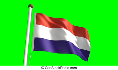 Luxembourg flag (Loop & green scree