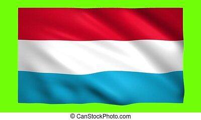 Luxembourg flag on green screen for chroma key