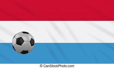 Luxembourg flag waving and football rotates, loop