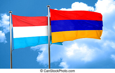 Luxembourg flag with Armenia flag, 3D rendering