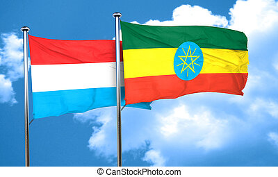 Luxembourg flag with Ethiopia flag, 3D rendering