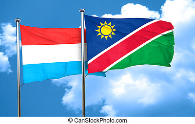 Luxembourg flag with Namibia flag, 3D rendering
