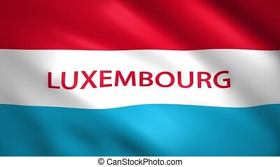 Luxembourg flag with the name of the country