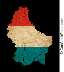 Luxembourg grunge map outline with flag