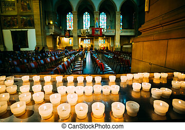 Luxembourg, Interior Notre-Dame Cathedral. Grand Duchy Of Luxembourg. It Was Originally A Jesuit Church, And Its Cornerstone Was Laid In 1613