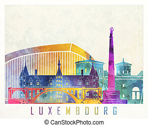Luxembourg landmarks watercolor poster