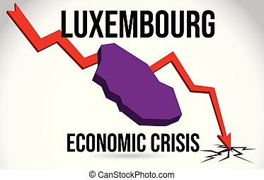 Luxembourg Map Financial Crisis Economic Collapse Market Crash Global Meltdown Vector.