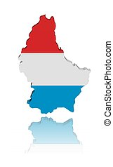 Luxembourg map flag with reflection