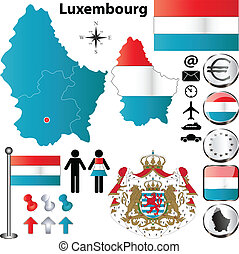 Luxembourg map - Vector set of Luxembourg country shape with...