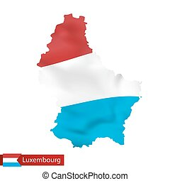 Luxembourg map with waving flag of country.