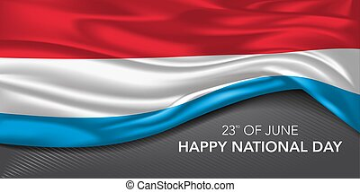 Luxembourg national day greeting card, banner with template ...