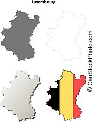 Luxembourg outline map set - Belgian version