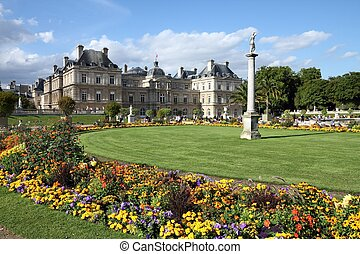 Luxembourg Palace in Paris, France. Beautiful gardens.