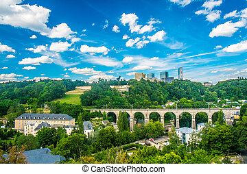 Luxembourg - Panoramic view of luxembourg city with a cloudy...