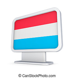 Luxembourgian flag in a lightbox. Isolated on white ...