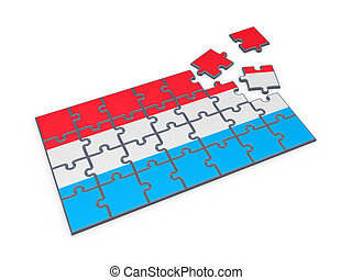 Luxembourgish flag made of puzzles. - Luxembourgian flag ...