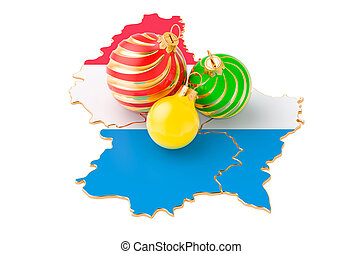 Luxembourgish map with colored Christmas balls. New Year and Christmas holidays concept, 3D rendering