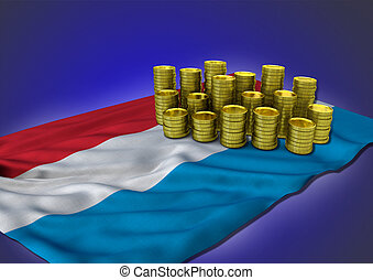 Luxemburgian economy concept with national flag and golden coins