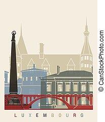 luxemburgo, cartel, contorno