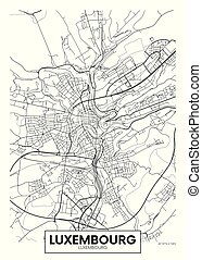 luxemburgo, vector, diseño, ciudad, viaje, mapa, cartel
