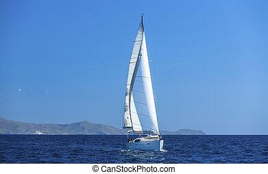 luxery, navegación, yates, sails., yacht., barco, blanco