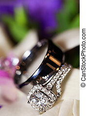 luxo, anel casamento