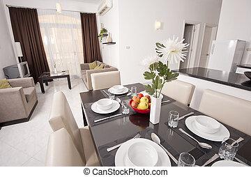 luxo, apartamento, projeto interior