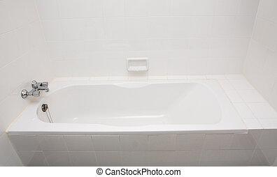 luxo, banheira banho, e, torneira, com, water.