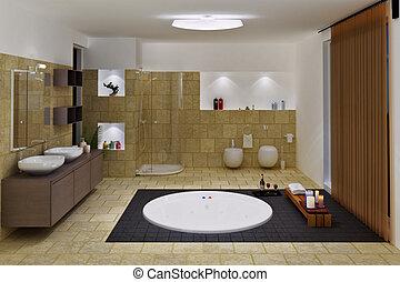 luxo, banheiro, interior