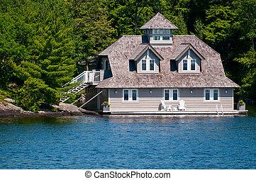 luxo, boathouse, ligado, lago, muskoka