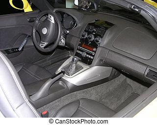 luxo, carro esportes, interior, 2