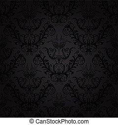 luxo, carvão, floral, papel parede