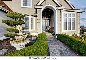 luxo, casa, exterior., entrada, alpendre, vista