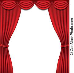 luxo, cortina vermelha, branco, fundo
