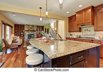 luxo, cozinha, com, barzinhos, estilo, island.