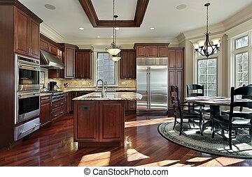 luxo, cozinha, com, cereja, madeira, cabinetry