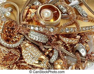 luxo, dourado, acessórios