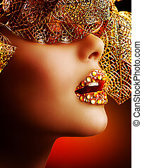 luxo, dourado, makeup., bonito, profissional, feriado, maquiagem
