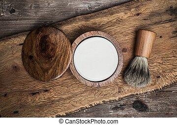 luxo, escova, raspar, sabonetes, fundo, madeira