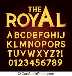 luxo, exclusivo, dourado, alfabeto