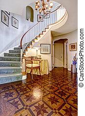 luxo, foyer, com, projetado, assoalho hardwood, e, caixa espiralada escada