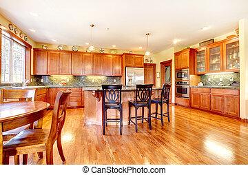 luxo, grande, cereja, madeira, cozinha, com, verde, e, yellow.