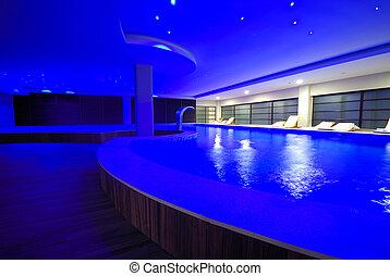 luxo, indoor, piscina