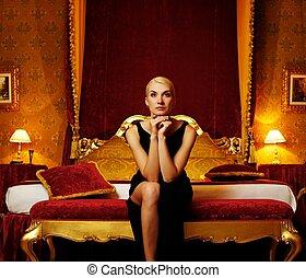 luxo, interior., beautifiul, mulher