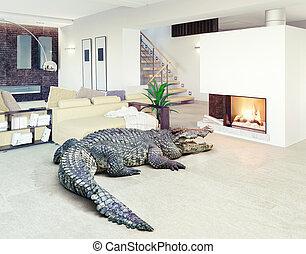 luxo, interior, crocodilo