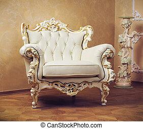 luxo, interior, ., esculpido, mobília