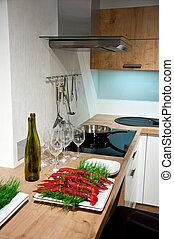 luxo, interior, modernos, cozinha