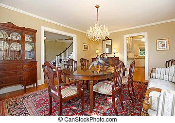 luxo, jantando quarto, com, antigüidade, mobília