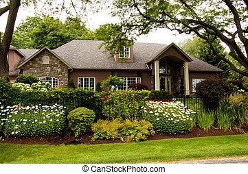 luxo, jardim, lar