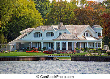 luxo, lakefront, propriedade